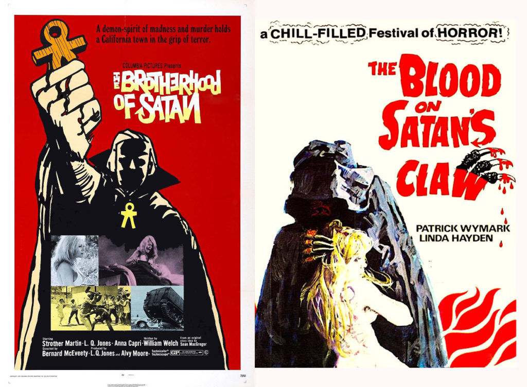 Posters for The Brotherhood of Satan and The Blood on Satan's Claw (both 1971), 1970s horror
