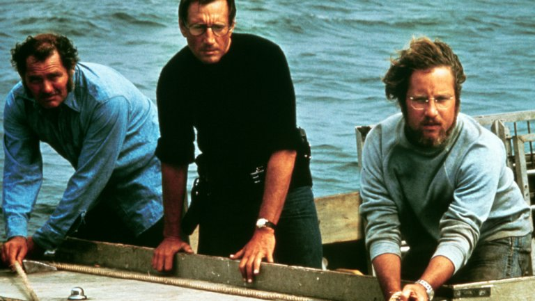 Quint, Brody and Hooper in Jaws 1975