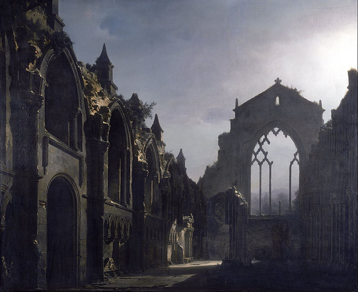 Louis Daguerre-The Ruins of Holyrood Chapel