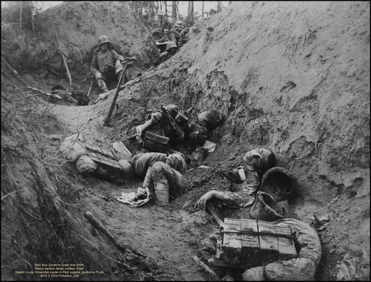 Fallen soldiers in the trenches of the First World War, 1920s horror