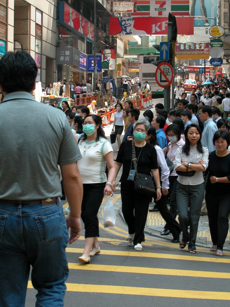 Masks vs. SARS on your lunchbreak, Hong Kong, March 2002